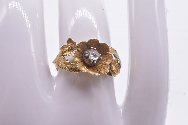 Georgian Flower Head and Diamond Ring c.1830