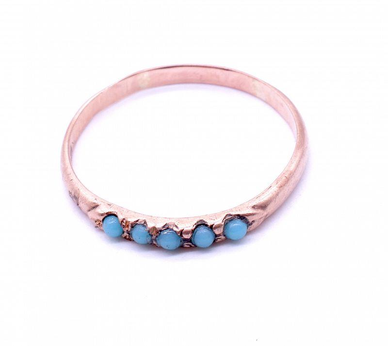 10k Turquoise Gold Stacking Ring, C.1900