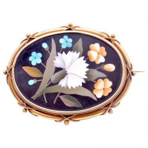 C.1860 18k Gold Pietra-Dura Flower Brooch