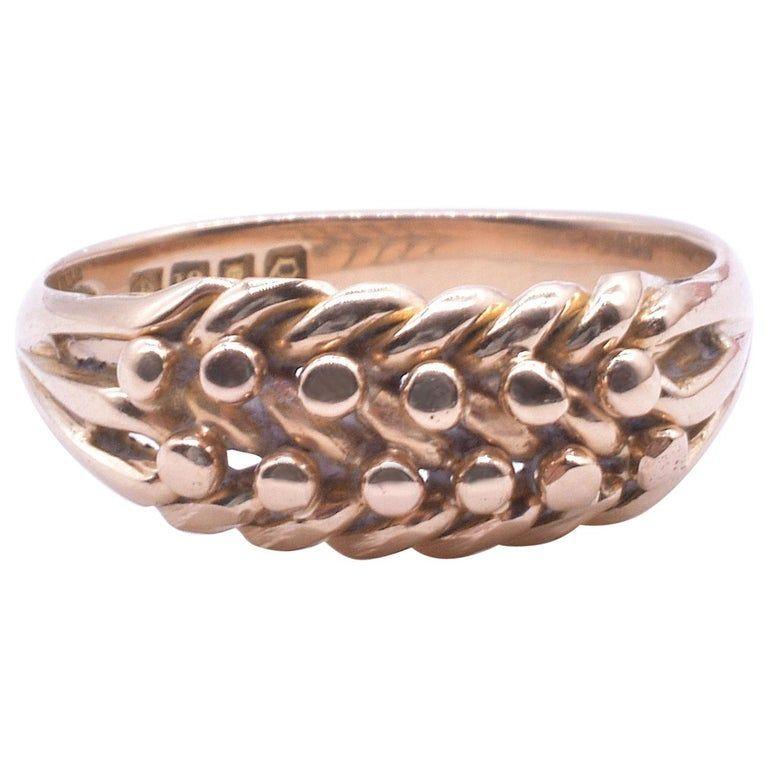 Hallmarked 1891 Keeper Ring 18 Carat Yellow Gold