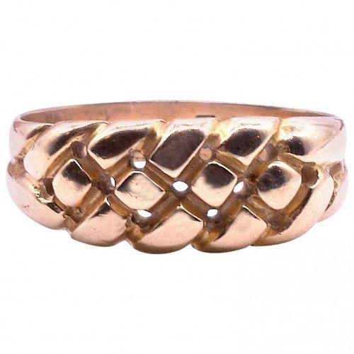 Hallmarked Birmingham 1896 Keeper Ring 18 Carat Yellow Gold