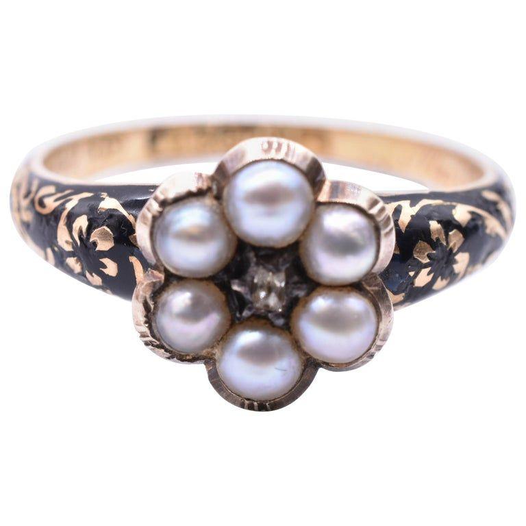 18K HM 1841 Pearl Forget me not Enamel Memorial Ring w Diamond center