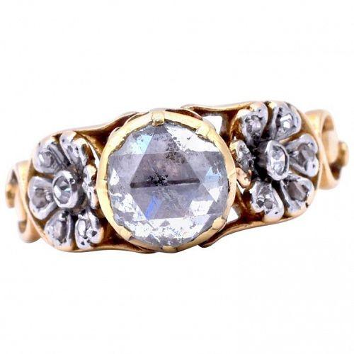 Antique Gold Rose Cut Diamond RING W Platinum Floral Shoulders