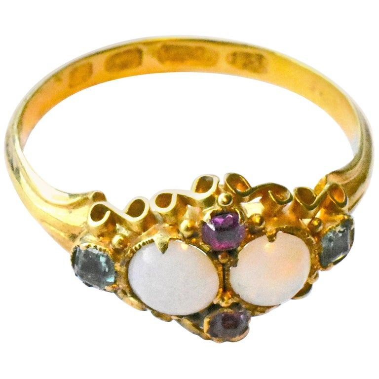 Antique Opal Ruby and Peridot 15 Karat Gold Ring