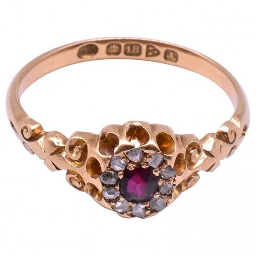 Ruby Diamond Cluster Ring, HM Chester 1901