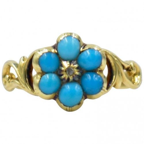 15K Victorian Turquoise and Gold Forget Me Not Ring