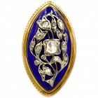 "Antique Marquis Shaped 15K Enamel and Diamond Ring ""Nipped in the Bud"""