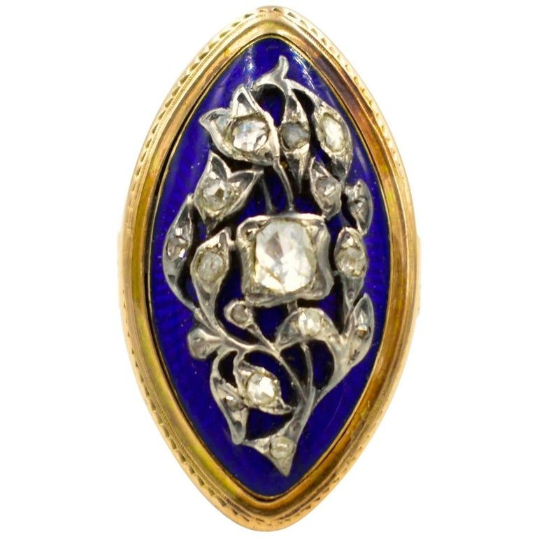 """Antique Marquis Shaped 15K Enamel and Diamond Ring """"Nipped in the Bud"""""""