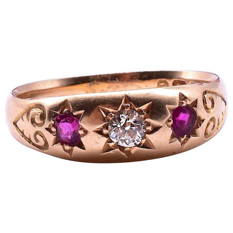 18 Carat Star-Set Ruby and Diamond Gypsy Ring, HM B'ham 1898