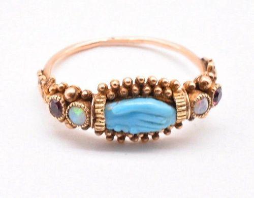 Georgian Turquoise Hand Motif Ring
