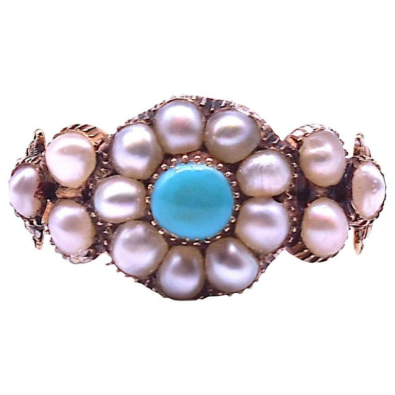 Antique Pearl and Turquoise Cluster Ring