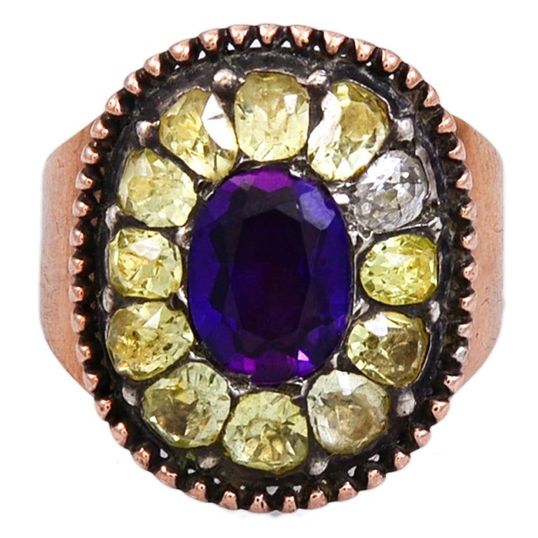 Antique Portuguese Amethyst and Chrysoberyl Ring