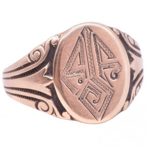10 Karat Chased Embossed Monogrammed Enameled Signet Ring, circa 1920