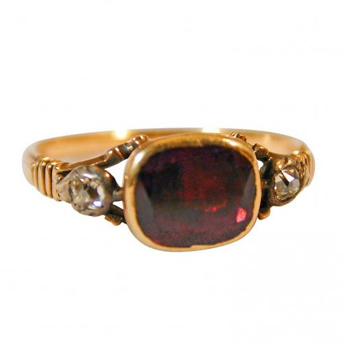 Antique Garnet Basket Set Ring with Diamonds
