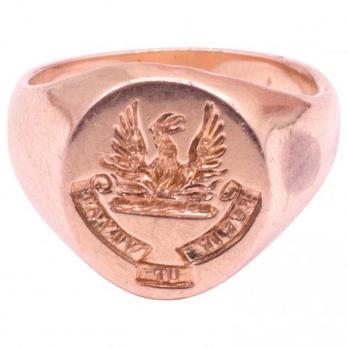 "Victorian Signet Ring with Image of Phoenix, ""Perit Ut Vivat"""