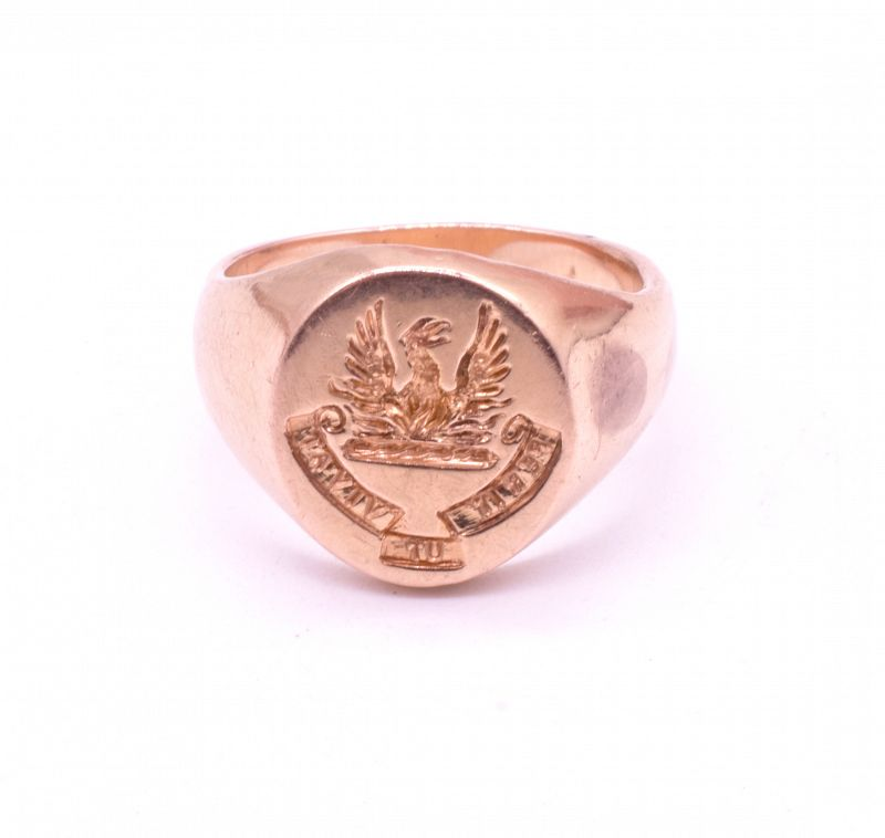 "Victorian Signet Ring with Image of Phoenix, ""Perit Ut Vivat"""