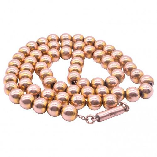 9K Gold Victorian Beaded Collar Necklace with Barrel Clasp, C1860