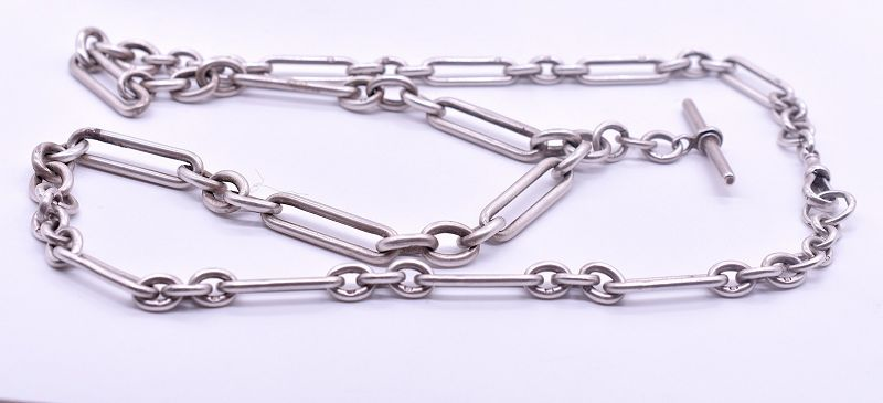 HM Bham 1897 Sterling Albert Chain Link Necklace