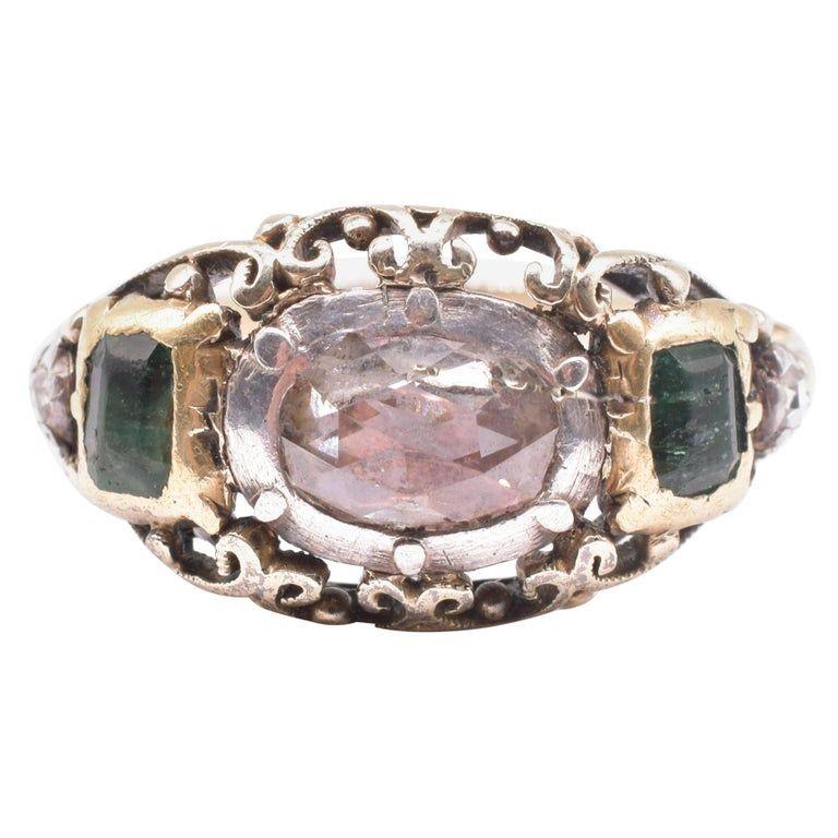 18 Karat Georgian Emerald and Diamond Rose Cut Ring, circa 1830