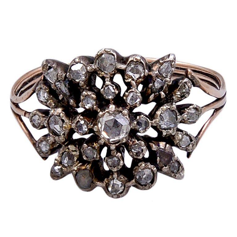 Antique Georgian Diamond Filigree Cluster Ring