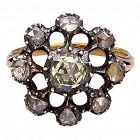 Antique Georgian Dutch Crown Rose Diamond Cluster Ring, 18K