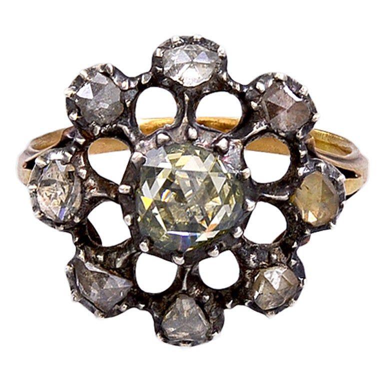 Antique Georgian Dutch Crown Rose Diamond Cluster Ring, 18K