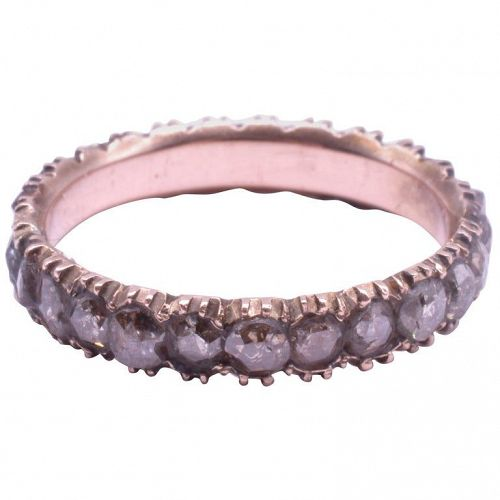 Early Victorian 9K Diamond Eternity Band Ring, size 5.5