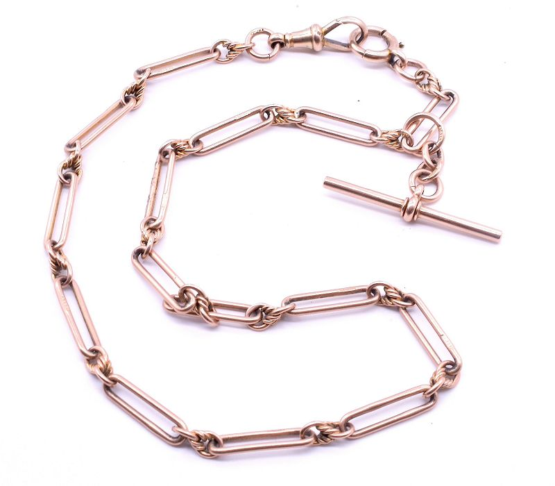 Victorian 9K Albert Link Chain Necklace with Bolt Clip