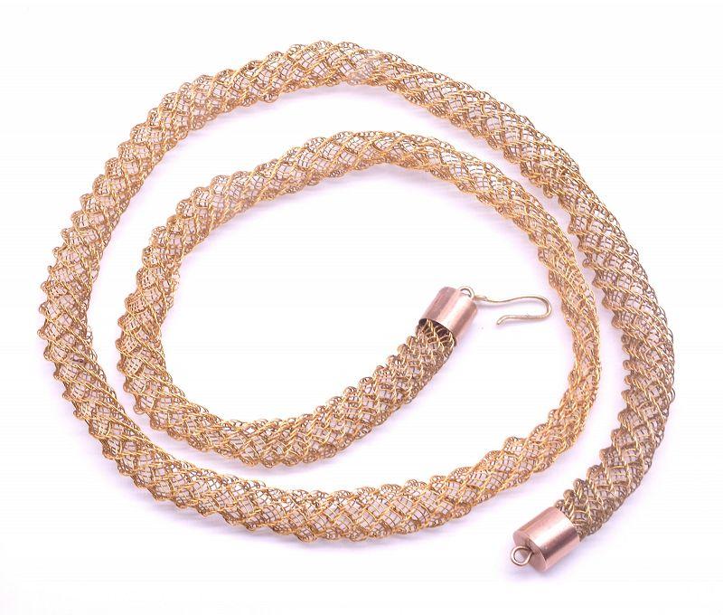 15K Tubular Mesh Delicate Necklace
