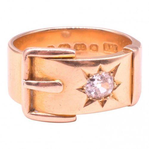HM Sheffield 1895 18 Karat Wide Buckle Ring with Star Diamond