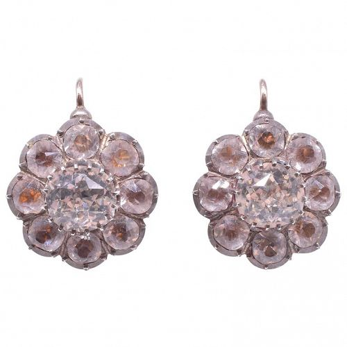Silver and Gold Paste Cluster Earrings