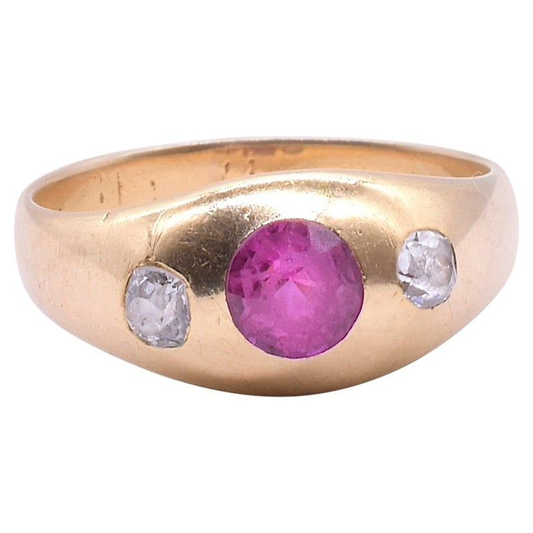 18K Ruby Gypsy Ring flanked with Diamonds