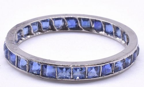 Art Deco Sapphire Platinum Eternity Band Ring, size 7.25+