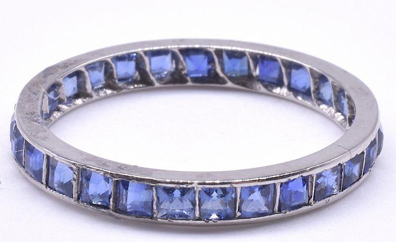 Art Deco Sapphire Platinum Eternity Band Ring, size 7.25+