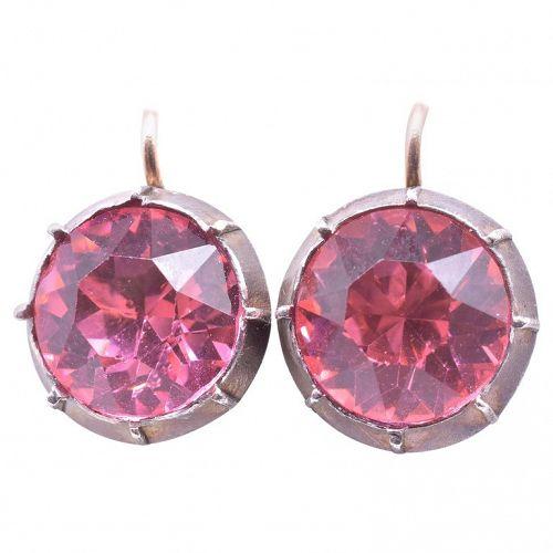 Silver Foiled Pink Paste Earrings