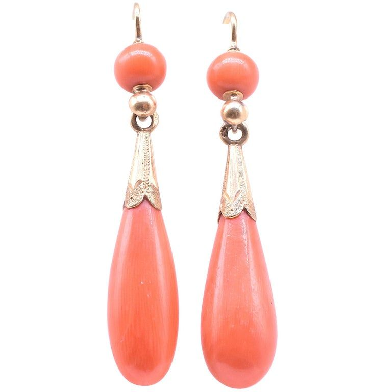 18K Coral Pendaloque Earrings