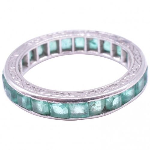 Art Deco Emerald Eternity Band Ring in 15K White Gold, Size 3.5