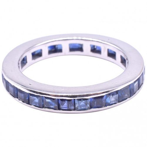 Art Deco Sapphire and 15K White Gold Wide Eternity Band Ring, size 7