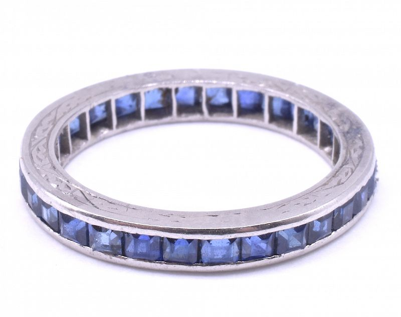 Art Deco Sapphire Platinum Eternity Ring w engraved band, size 6.25