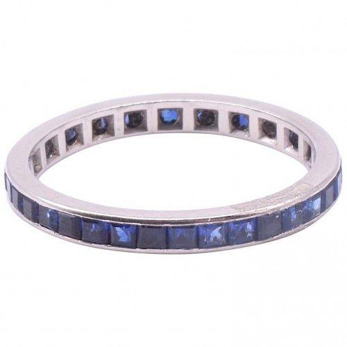 Art Deco Sapphire Platinum Eternity Ring w Slender Band, Size 7.5