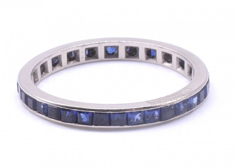 Art Deco Sapphire Platinum Eternity Ring w Slender Band, Size 7.5