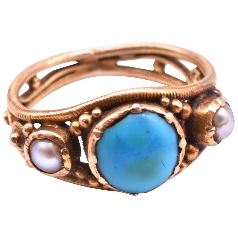 Victorian Baby Ring with Turquoise and Pearls in 15K