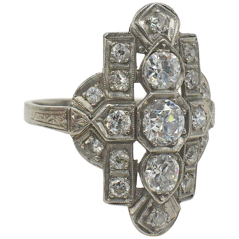 C1920 Diamond and Platinum Art Deco Ring