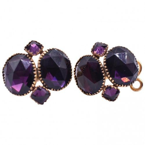 Queen Anne Amethyst Paste Earrings, circa 1860
