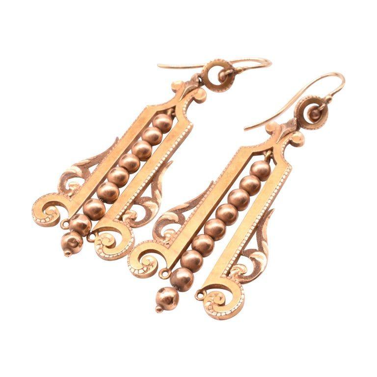 18 Karat Antique Egyptian Revival Gold Earrings