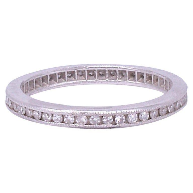 Art Deco Diamond Platinum Slender Eternity Band Ring size 6.5