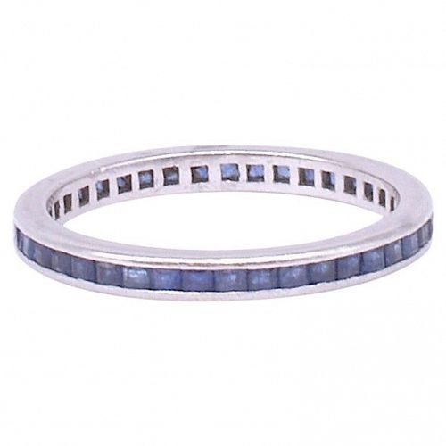 Art Deco Sapphire and White Gold Eternity Ring w Slender band, 7.25