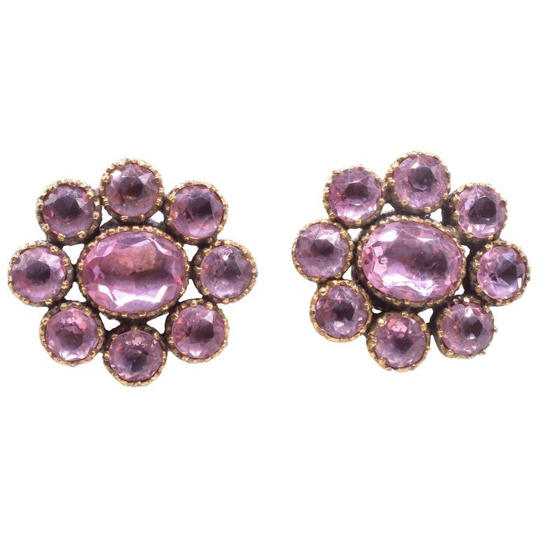 Victorian circa 1870 9 Karat Pink Paste Cluster Earrings