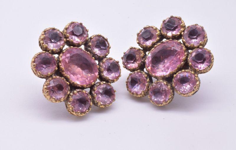 Victorian circa 1870 9 Karat Pink Paste Cluster Earrings