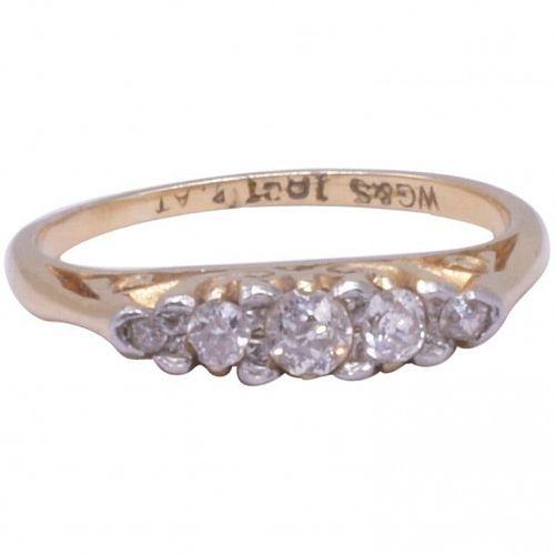 Antique 18 Karat And Platinum 5 Stone Diamond Ring, circa 1900